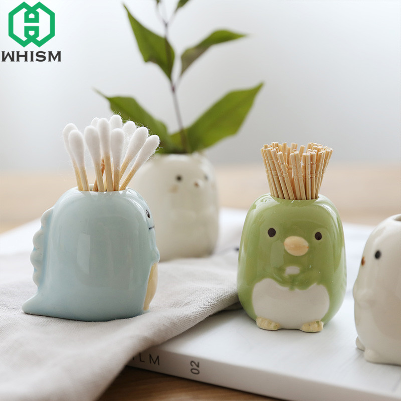 WHISM Ceramic Cartoon Animal Toothbrush Holder Bathroom Stand Toothbrushes Sundries Storage Container Tableware Organizer Rack image