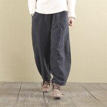 Johnature женские широкие брюки с эластичной резинкой на талии Осенние новые льняные брюки женские брюки свободные 8 цветов повседневные винтажные