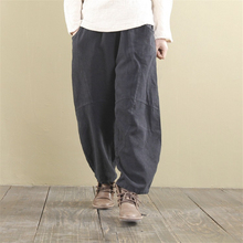 Johnature Wide Leg Pants Elastic Waist 2019 Autumn Linen Trouser Women Loose Casual