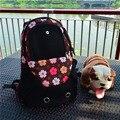 2016 Nova Grande Saco de Viagem do Animal De Estimação Cães Gatos Transportadora Mochila Ao Ar Livre saco Do Mensageiro Pontos Preto Azul Srong 1-7KGS 35X14X40 CM
