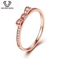 алмазная алмаз Двойной Кольцо из натуральной SOLID 18 К золото Кольца Для женщин свадьба настоящее 0.13ct Кольца с алмазами розовое золото ювелир