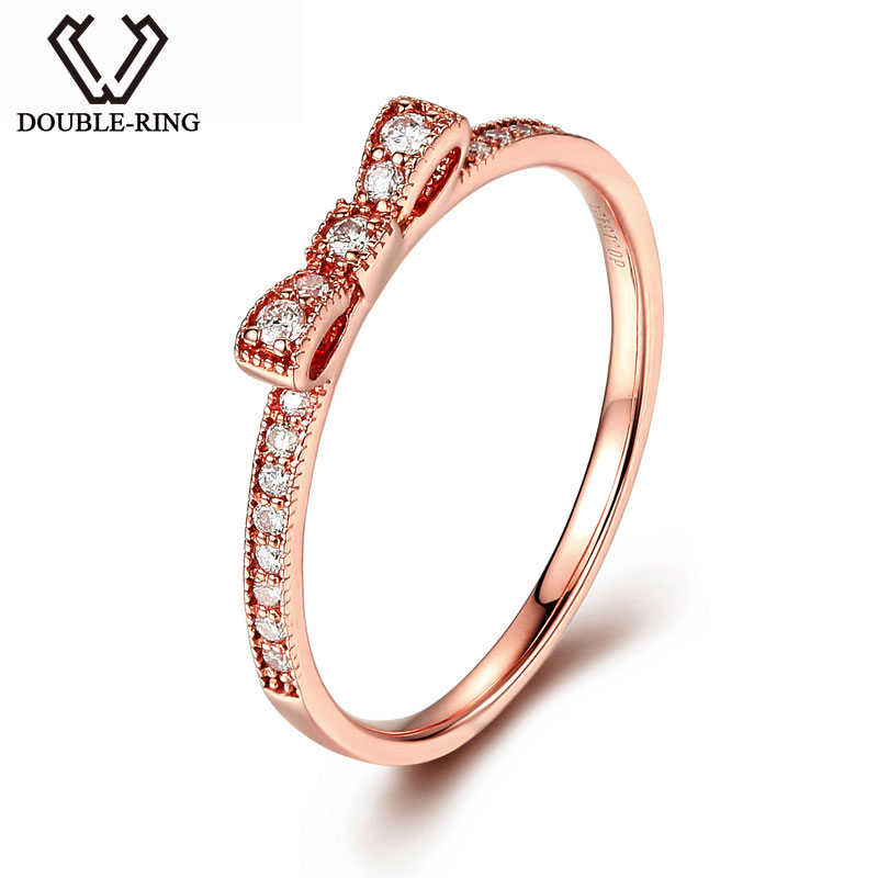 DOUBLE-RING 0.13ct Genuine Diamond Pure Real Solid Rose Gold 18k Diamond Ring Engagement Wedding Ring CAR06959KA-3 ouro 18k hot sale couples wedding bands lock and key love solid 18k white gold diamond engagement ring wu141