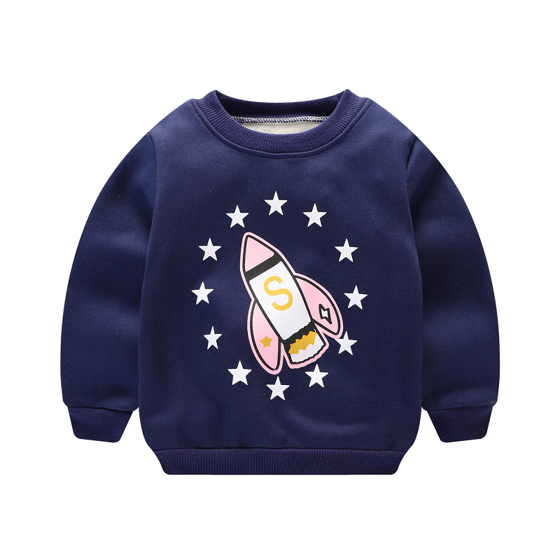 Casual Autumn Winter Kids Boys Girls Cartoon Printed Plus Velvet Long Sleeve O-neck Pullover Sweatshirts Tops MT1452