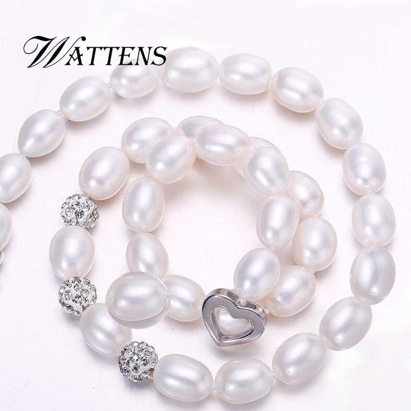 WATTENS 2018 new Pearl Necklace 925 Sterling Silver Jewelry For Women 8-9mm Crystal Ball Natural Freshwater Pearls Pearl Jewelry