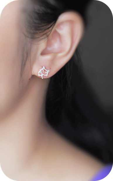 925 Plata de ley pendientes de tachuela de gato para joyería aros para mujer brincos boucle d'oreille femme EH590