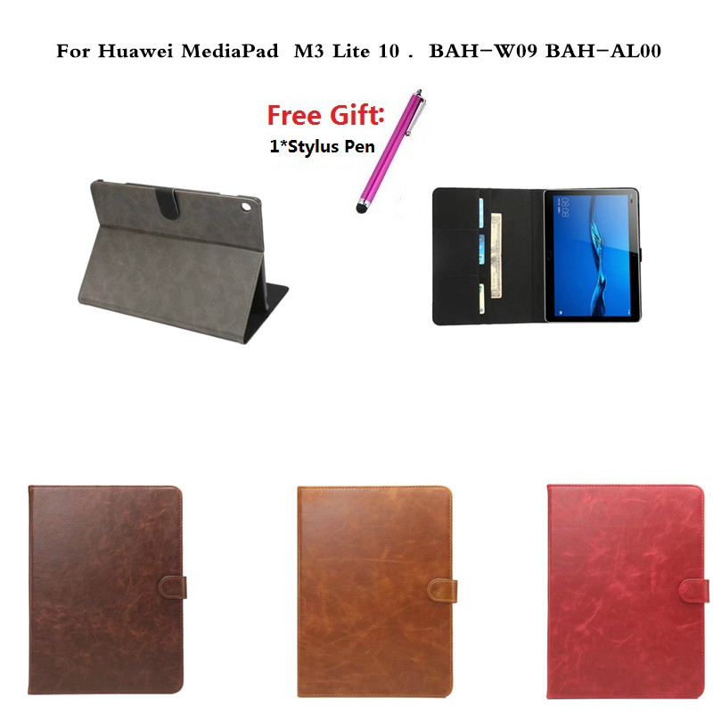 For Huawei MediaPad M3 Lite 10 10.0 BAH-W09 BAH-AL00 10.1 Tablet Cases Protective PU Leather Flip Stand Business Case Cover image
