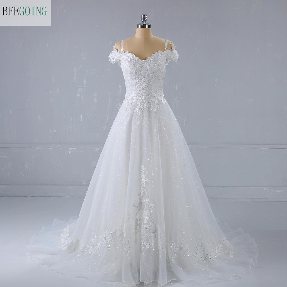 White Lace Tulle  Beading V-Neck Sleeveless Spaghetti Straps  A-line  Wedding Dresses Court Train Lace Up
