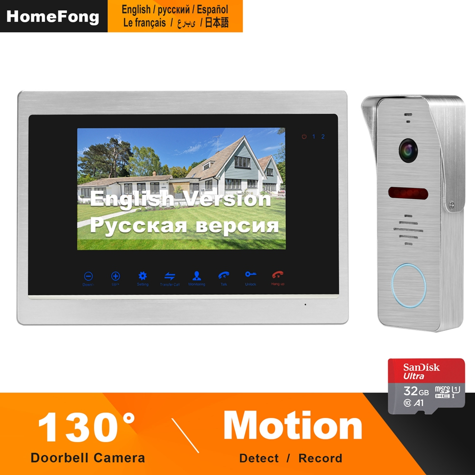 HomeFong Video Door Phone 7inch 1200TVL Display With 130°Doorbell Camera Support Motion Detection Record For Home Video Intercom