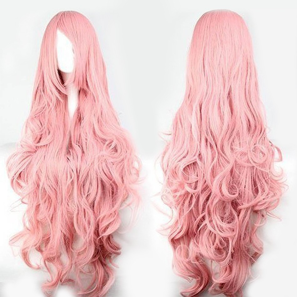 qp curly cosplay wig pink