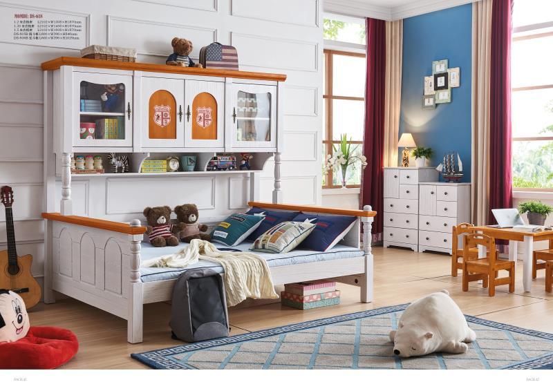 JLMF618 Ash wood children bedroom furniture solid wood children bed with storage cabinet drawers bookshef closet wardrobe bed
