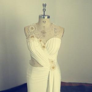 Image 4 - アメージング真珠イリュージョンロングイブニング弓シアーバックノースリーブのセクシーなフォーマルな日のmother花嫁ドレス