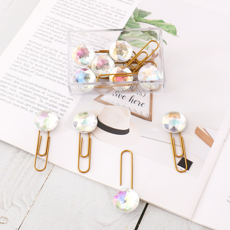 12pc/set Gold Binder Clip Kawaii Metal Paper Clip Colorful Crystal Clamp Binding Notes Letter Planner Decorative Paperclip Gift