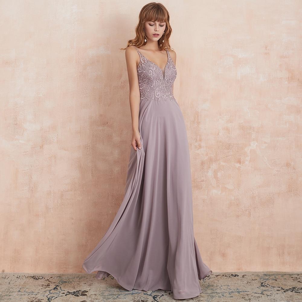 VKbridal Backless Illusion A-line Chiffon Prom Gowns Wedding Guest Formal Wear Elegant Deep V-neck Bridesmaid Dresses Long 2019
