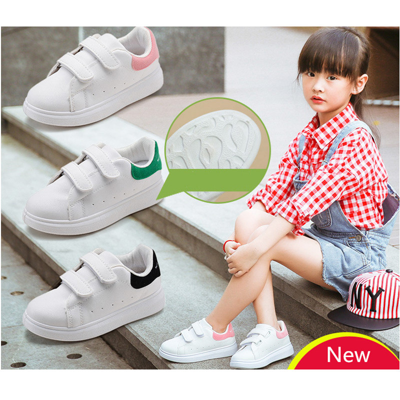 Boy Girl Sport Running Shoes Skate Sneakers School Children Skateboard Buckle Soft Non - Slip Baby White Kids Breathable Jogging vik max artificial wool lining figure skate shoes hot ice skate shoes classical black figure skate shoes