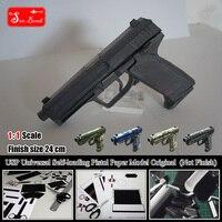 2 en 1 Nouveau H & K USP Universel Auto-chargement Pistolet 3D Papier modèle Cosplay Kits Enfant Adultes Pistolet Armes Papier Modèles Jouets Faits À La Main