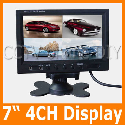7 Color TFT LCD Rear View Car Monitor 4CH Video Input Four Division Display Quad Mode Monitors Free Shipping 4 3 inch display tft color lcd monitor cctv camera monitor 2 av input 1 way for rear view