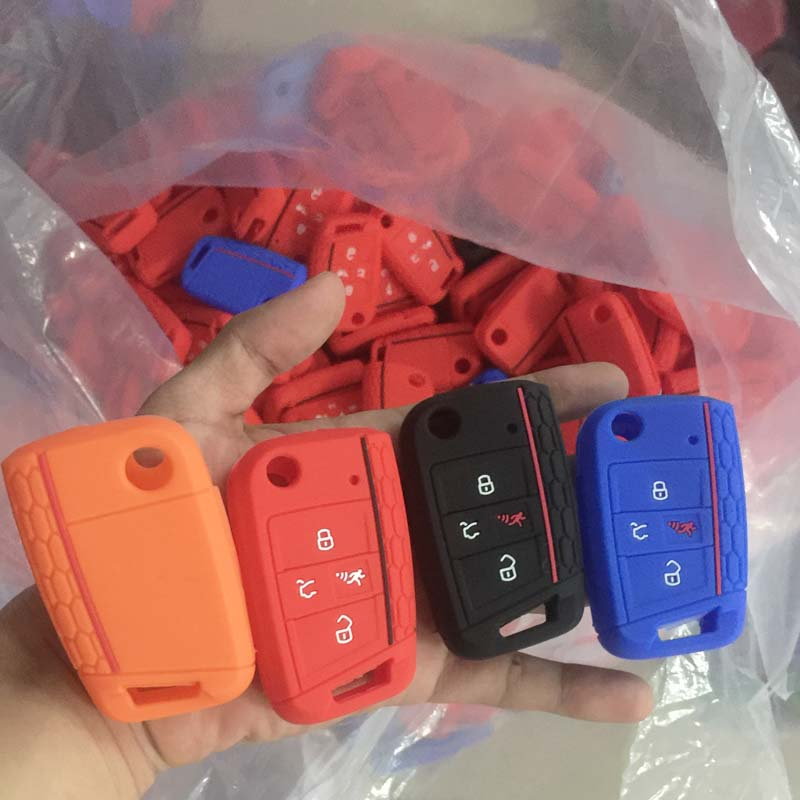 60 units Car key Accessories Silicone case key cover for VW Seat Golf 4 button flip