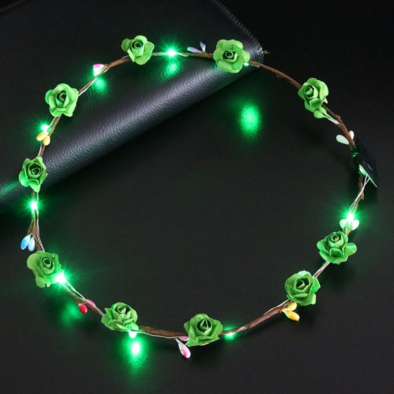 Women Girls LED Light Up Flower Headband Flashing Glow Crown Party Hair Wreath 2