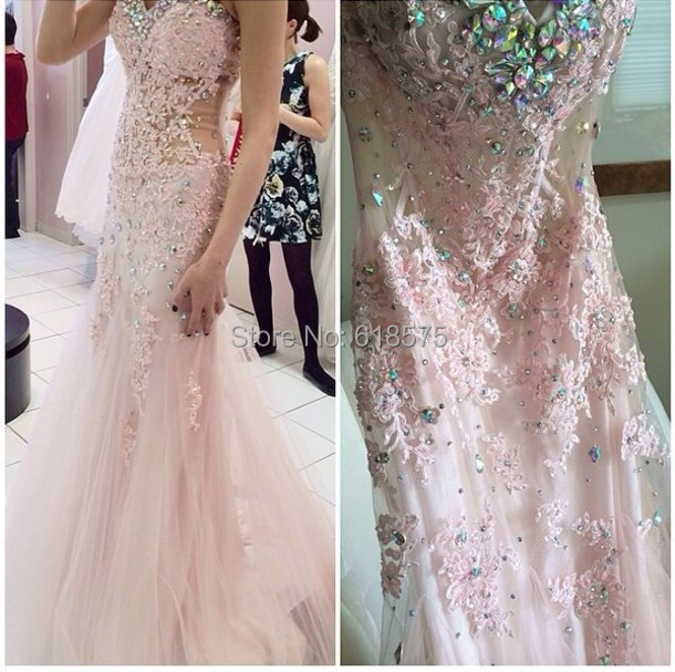 2014 Vestidos Rhinestone <font><b>Applique</b></font> Sweetheart Mermaid Pink Evening Prom <font><b>Dresses</b></font>