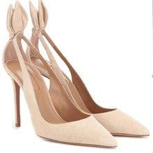 Hot Fashion Sexy Black/Nude Flock Slip-On Shoes Pointed Toe Thin Heels Women's Shoes ButterFly-Knot Shallow Ladies Pumps