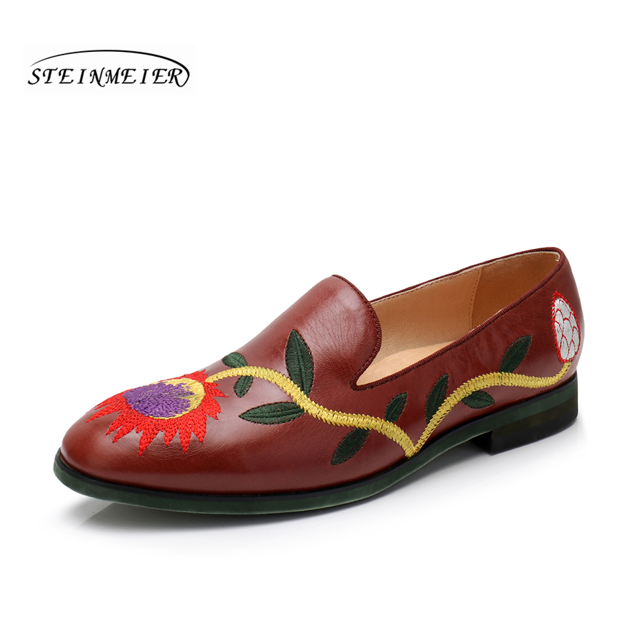 Women genuine sheepskin leather yinzo shoes vintage flat round toe handmade brown red white sneakers oxford shoes for women 2017 imc vintage women flat shoes white us4 eur35 length 22 5cm