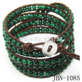 Hot Bohomia style fashion jewelry 4mm Natural malachite beaded bracelet leather Mulitlayer bracelets&  bangles JBN-1085