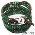 Hot Bohomia style fashion jewelry 4mm Natural malachite beaded bracelet leather Mulitlayer bracelets&  bangles JBN-1085
