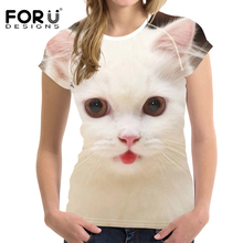 FORUDESIGNS Animal Cat Printed T Shirt Women Fashion Tee Ladies Daily Clothing for Girls Siamese Pattern Kawaii Tops