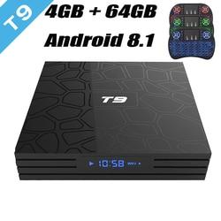 2018 RUIJIE T9 Android 8.1 TV Box Rockchip RK3328 4GB 64GB Quad Core USB 3.0 H.265 4K WIFI Bluetooth Smart TV Set Top Box