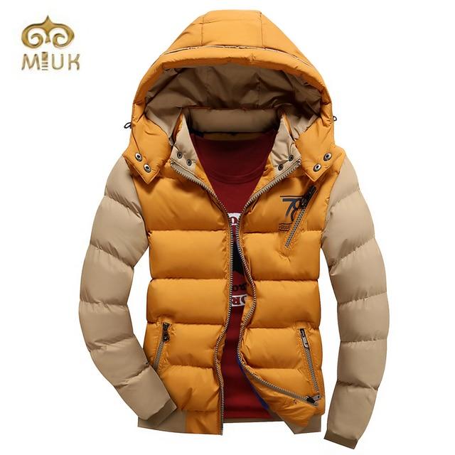 2017 Thick Fashion Patchwork Zipper White Black Red Khaki Yellow Winter Autumn Winter Jacket Men Parkas Hombre Invierno Hot