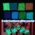 1 pack Nuevo 8 Colores Luz de La Noche de Calcomanías de Uñas Nail Luminoso Glitter Powder Polvo Torquoise Manicura Consejos Decoración Del Brillo