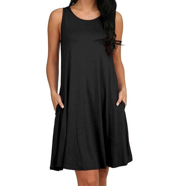 Women Casual Summer Dress Plus Size O-neck Tank Top Loose Clothing Side Pocket Fashion Sexy Ladies Solid Sleeveless Dresses 5XL 1