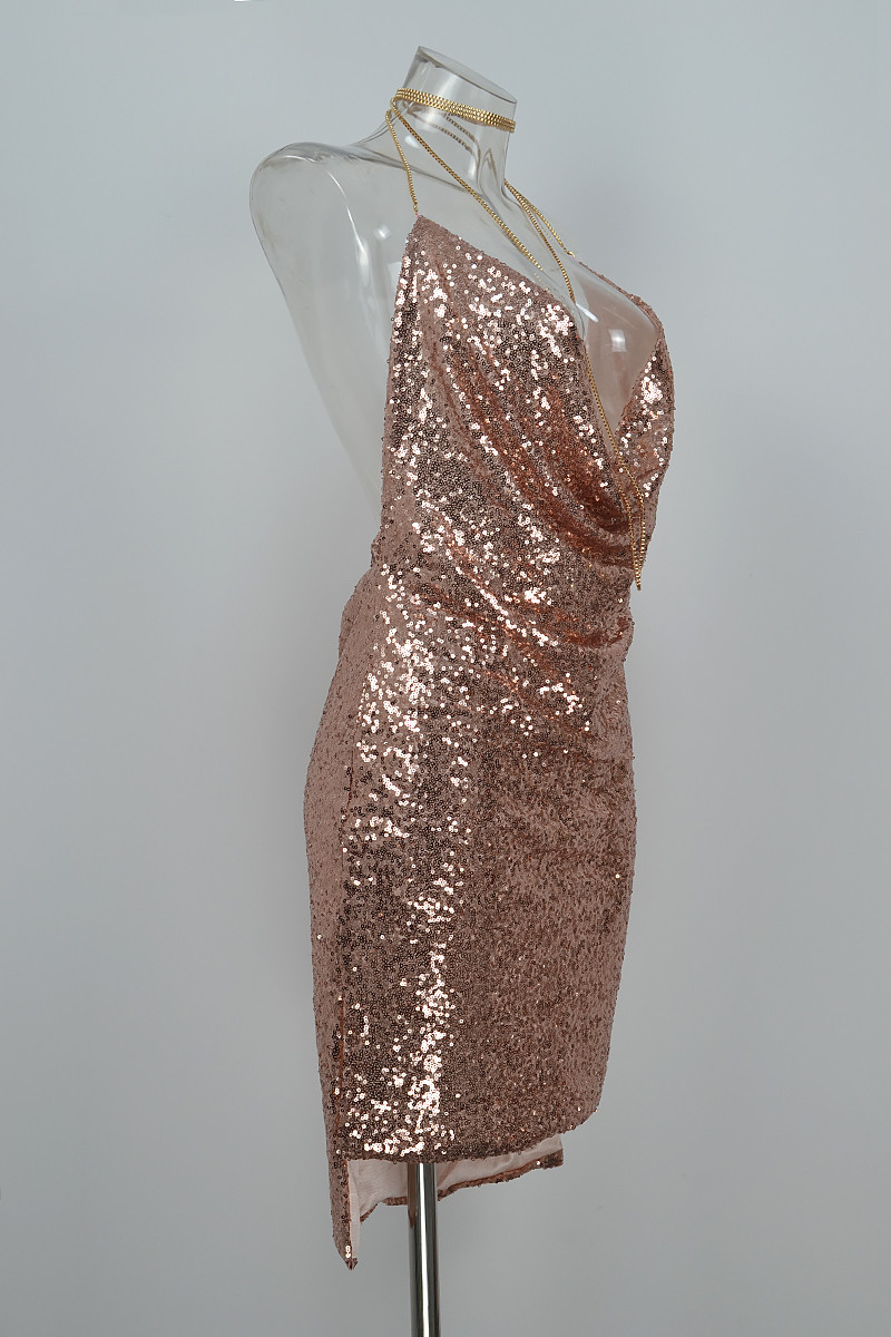 HTB1WoAjPpXXXXaXXXXXq6xXFXXX5 - FREE SHIPPING Front Draped Backless Halter Sparkle Women's Sequin Dress JKP297