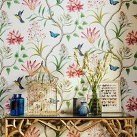 American Style Rustic Wallpaper Roll Vintage Floral Non-woven 3D Butterfly Wall Paper Bedroom Wallpapers Birds,Wall Decals 3D