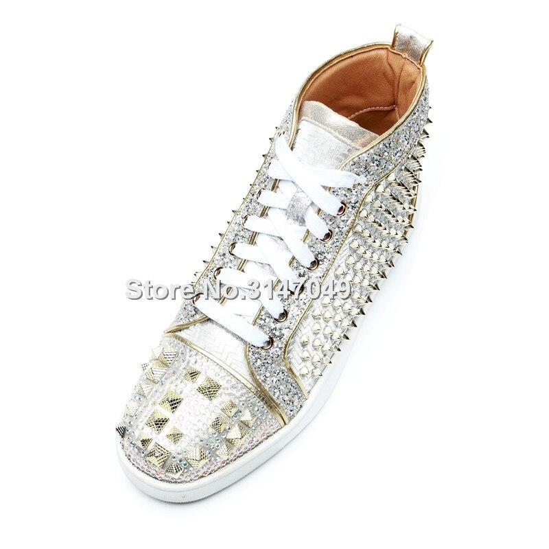 Casual Für Schuhe Kristall Turnschuhe Silber Flache Herren Nieten Strass Luxus Lace Bling Mokassin Männer Sohle Up qpUSwURP