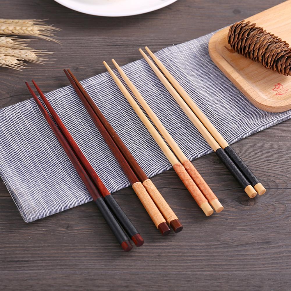 Набор деревянных палочек для еды ручной работы, хороший подарок, домашняя посуда в стиле ретро, Китайские Длинные портативные столовые приб...