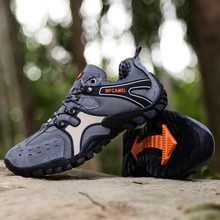 Man Hiking Shoes Dark Gray Brown Rock Climbing Spring Autumn Men Trekking Breathable Outdoor Sneakers