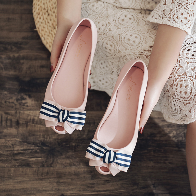 Rouroliu Women Peep Toe Jelly Shoes Summer Comfortable Flat With Casual Shoes Woman Slip-On Bowknot Loafers FR93