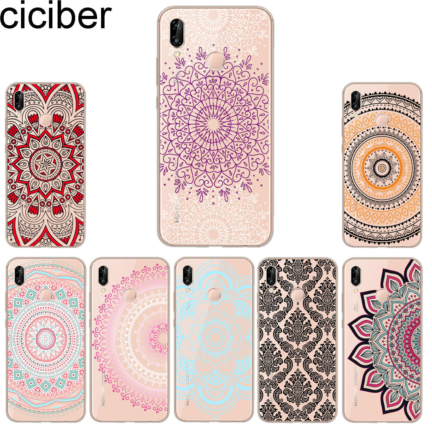 ciciber Phone Cases for Huawei P20 P8 P9 P10 Mate 20 10 9 Lite 2017 X Pro Soft TPU Back Cover for Huawei P Smart 2019 Mandala