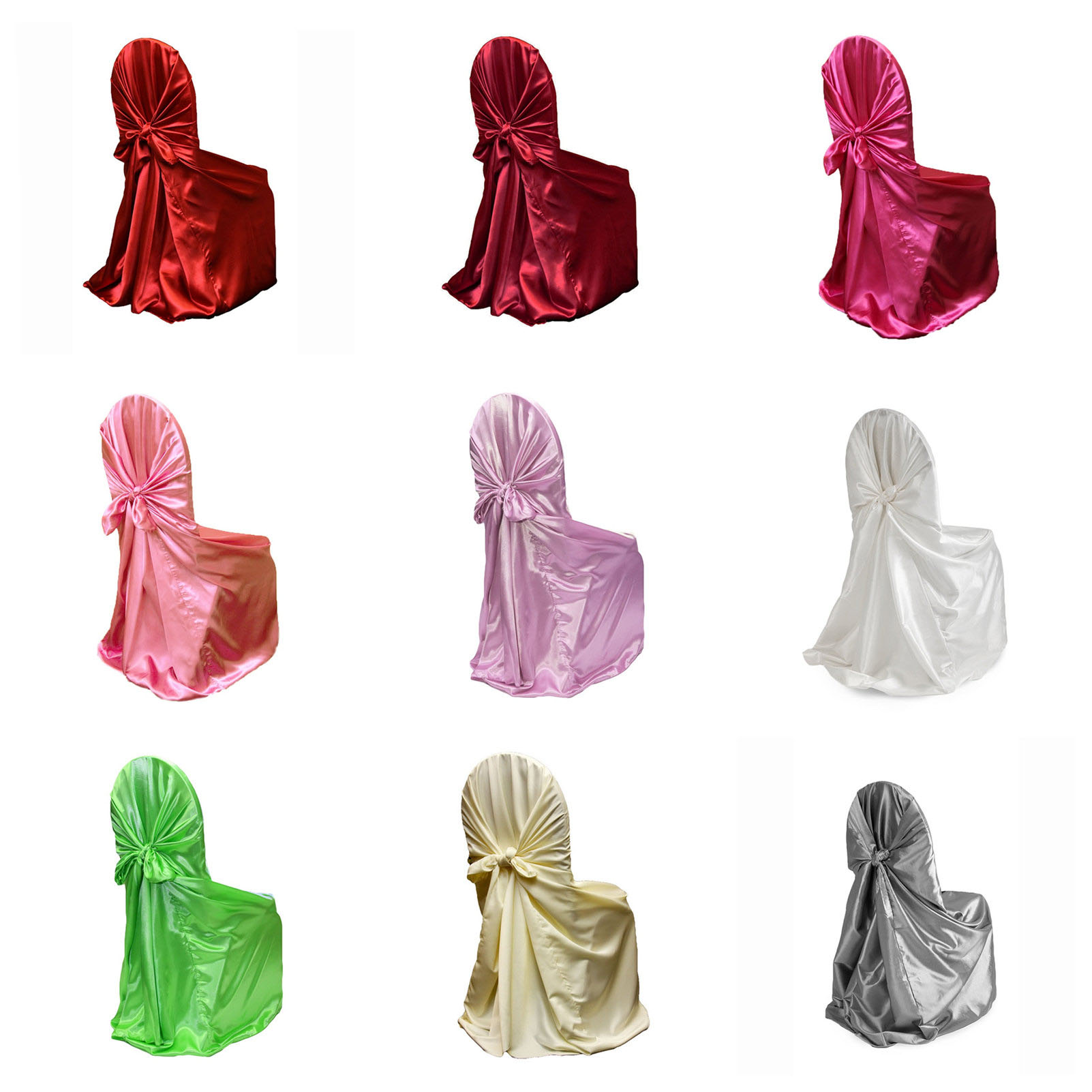 10pcs 43 x55 Universal Satin Chair Cover Seat Chair Decor For Banquet Hotel Wedding Party Decoration
