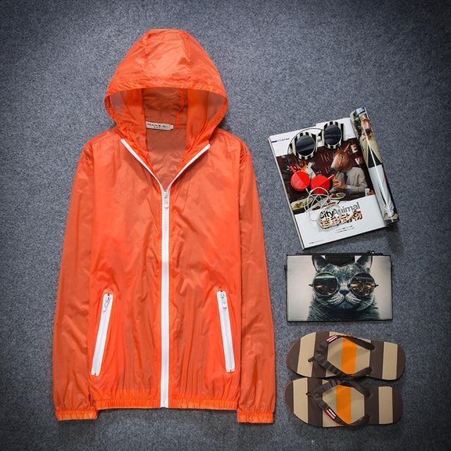 2017 Hot Sale Sun-Protective Windbreakers Men Women Unisex Outdoor Sport  Jacket Solid Hooded Zipper Outerwear Super Light Coat a4cb05f9b