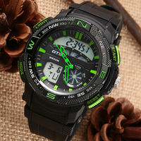 OTS Black Cool Face LED Digital Men's Watch Swimming Rock Climbing Outdoor Military Time Sports Waterproof Hiking Camping