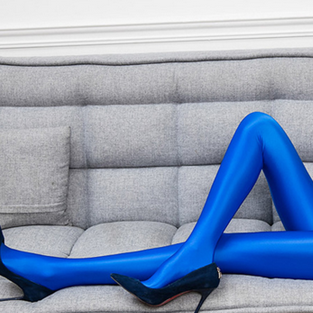 NEST Women's bright blue fashion sexy pants Satin fashion glossy Sexy tight fitting design high waist design pantyhose LEOHEX
