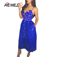 ADEWEL Elegant Women Royal Blue Lace Party Dress Sexy Hollow Out Nude Illusion Midi Dresses Ladies Backless Skater A line Dress