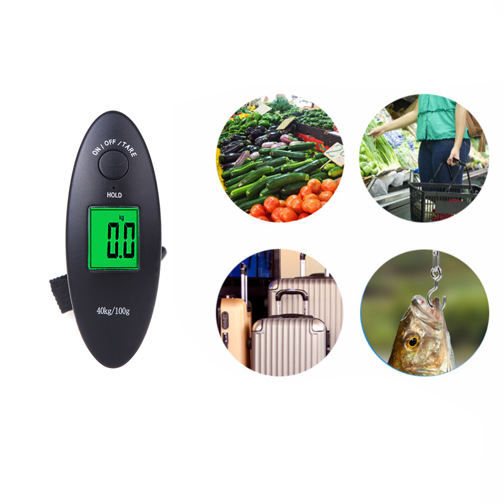 WH-A15L 40kg x 100g Mini Digital Belt Scale Electronic Hanging Luggage Scale LCD Fishing Steelyard 10*3.5*2.6cm