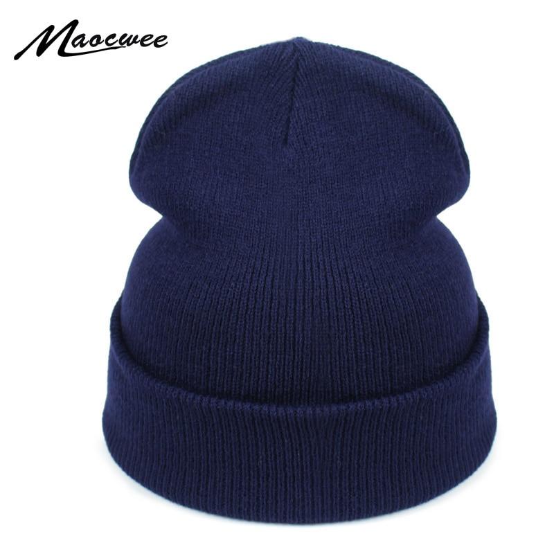 Women Hat Solid Knitted Beanie Winter Hats For Women Mens Ladies Unisex Bone Cotton Spring Autumn Keep Warm Skull Cap 2018
