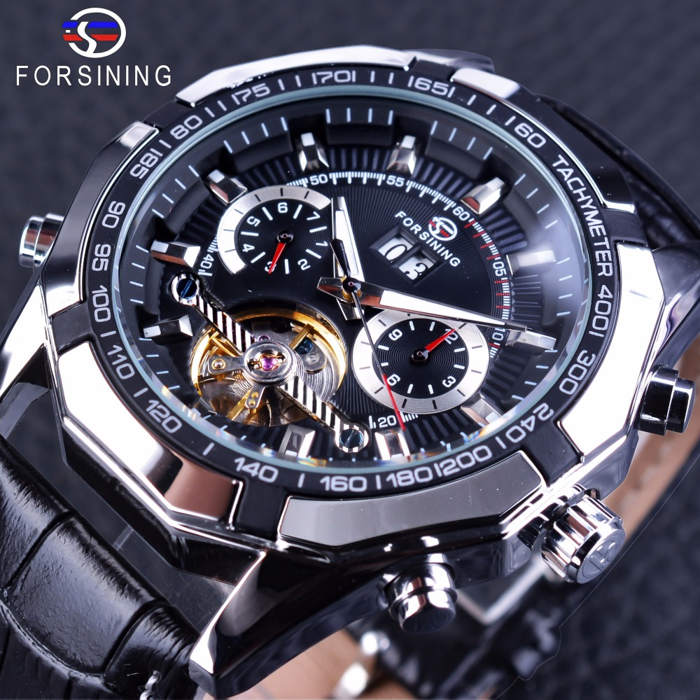 Forsining Tourbillion Display Date Month Week Dial Creative Watch Black Silver Steampunk Men s Mechanical Watch
