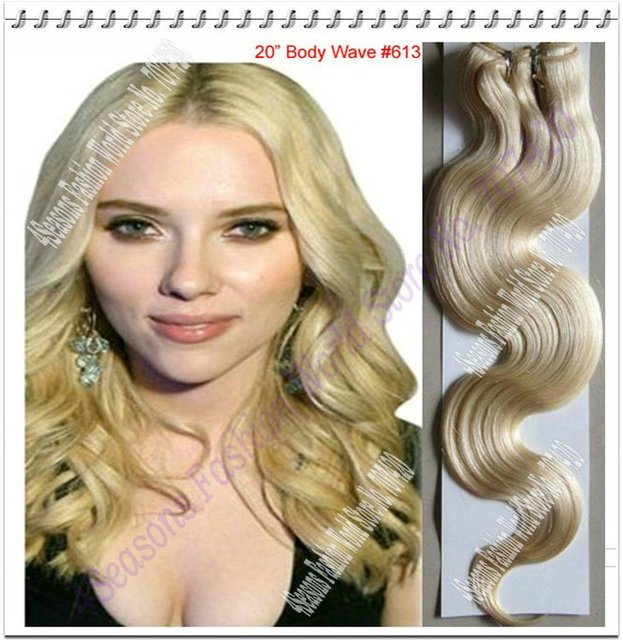 New 20inch 100g/pc Color Blonde Body wavy 100% Indian Human Remy Hair Extension DHL/EMS Free Shipping
