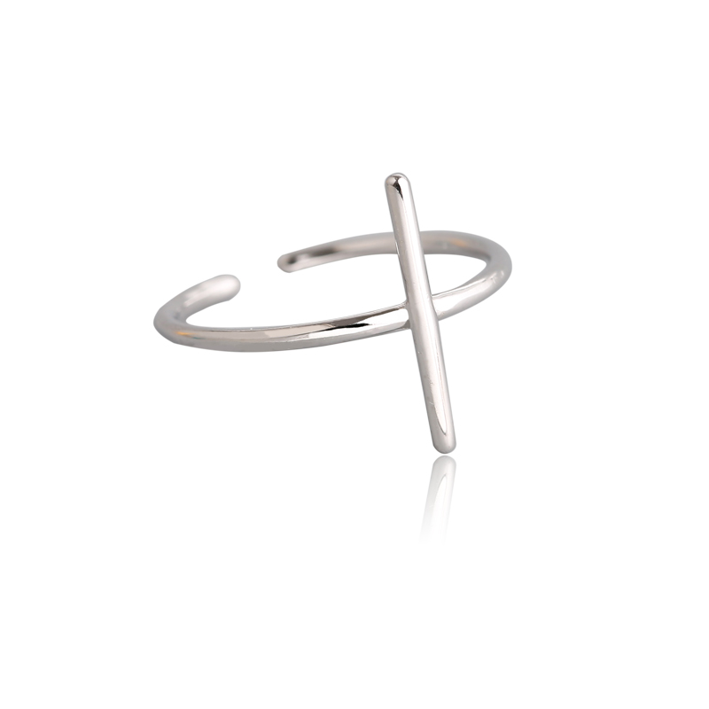 Fashion Jewelry Women Solid 925 Sterling Silver Ring Band Kids Tiny Cute Ring Adjustable Female Cross Plain Silver Finger Ring