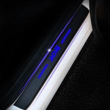 Peugeot 208 için 4D karbon Fiber vinil yapışkan kapı eşiği plaka çıkartmaları araba kapı eşiği koruyucu sürtme plakası araba aksesuarları